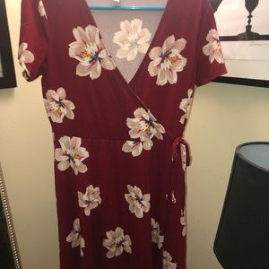 Red Dress with Flowers